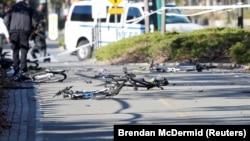 Велосипедная дорожка, по которой перед столкновением со школьным автобусом проехал пикап