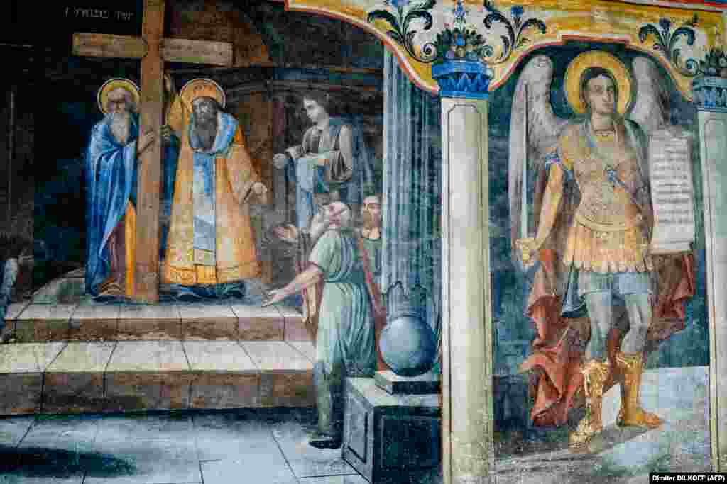 A fresco in the Church of Saint Constantine and Saint Elena. The first church on the site was built in the 4th century.