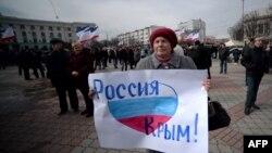 Қырымдағы Ресейшіл тұрғындар шеруі. Симферополь, 9 наурыз 2014 жыл.