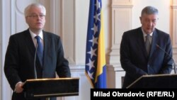 Ivo Josipović i Nebojša Radmanović na konferenciji za novinare, 8. jul 2013.