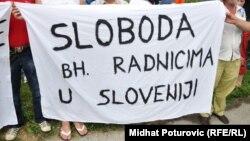 Jedan od protesta bh. radnika iz Slovenije - iz arhive