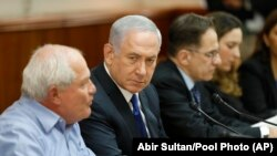 IsraelIsraeli Prime Minister Benjamin Netanyahu chairs the weekly cabinet meeting at his office in Jerusalem, Sunday, Nov. 12, 2017.