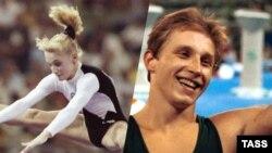 Гімнасты Тацьцяна Гуцу і Шчэрба на Алімпійскіх гульнях у Барсэлёне, 1992.