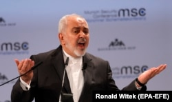 Zarif speaks during the 55th Munich Security Conference in Munich on February 17.