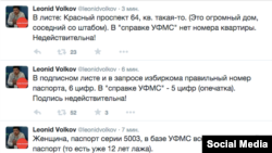 Скриншот твиттера Леонида Волкова с постами о выборах в Новосибирске