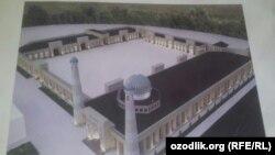 Снимок Белой мечети, которая строится в Зааминском районе Джизакской области.