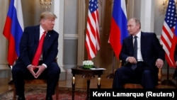 U.S. President Donald Trump (left) meets his Russian counterpart Vladimir Putin in Helsinki on July 16.