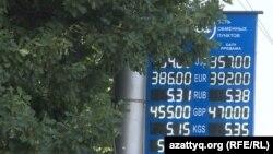 Алматыдағы ақша айырбастау пунктерінің біріндегі валюта бағамы. 26 шілде 2016 жыл.