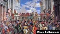 """Paolo Veronese(1528–1588)ning Luvr muzeyida saqlanayotgan mashhur asarlaridan biri - """"Kanadagi to'y"""" deb nomlanadi."""