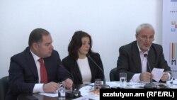 Armenia -- Parliament deputies Hovannes Sahakian (L) and Aram Manukian (R) at a press conference on the new Electoral Code. 20April, 2016