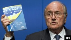 Switzerland -- FIFA President Joseph S. Blatter speaks to reporters during a press conference in Zurich, 30May2011