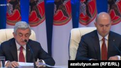 Лидер РПА, президент Армении Серж Саргсян и зампредседателя РПА Армен Ашотян