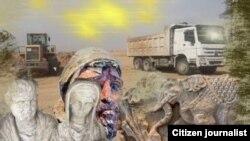 Davlat muhofazasiga olingan arxeologik hududda qurilish borilmoqda (kollaj)