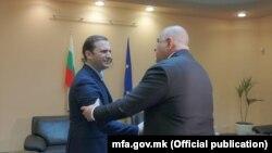 Takimi ndërmjet kryediplomatit maqedonas, Bujar Osmani dhe kryeministrit bullgar, Bojko Borisov. Sofje, 16 mars, 2021.