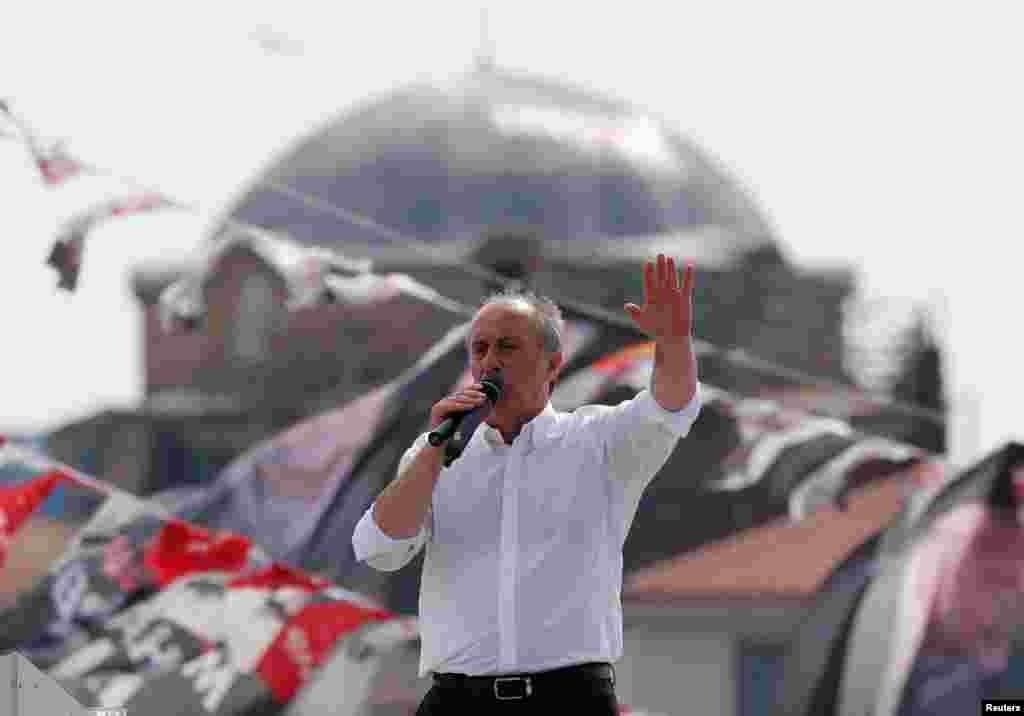 Один из кандидатов в президенты - Мухаррем Индже. Стамбул, 16 июня 2018 года.
