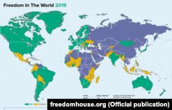 За оцінками Freedom House, Україна цього року все ще залишається «частково вільною» країною, а Крим отримав статус «невільної» території, яку окупувала Росія