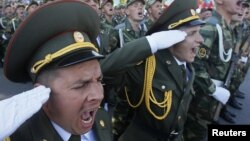 Soldiers from the breakaway Moldovan territory of Transdniester take part in a military parade during Independence Day celebrations in the de facto capital, Tiraspol, last year.