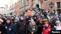 Thousands attended the funeral service of slain Gdansk Mayor Pawel Adamowicz on January 19.