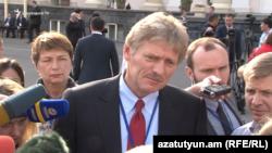 Dmitry Peskov, the Kremlin's spokesman, talks to journalists