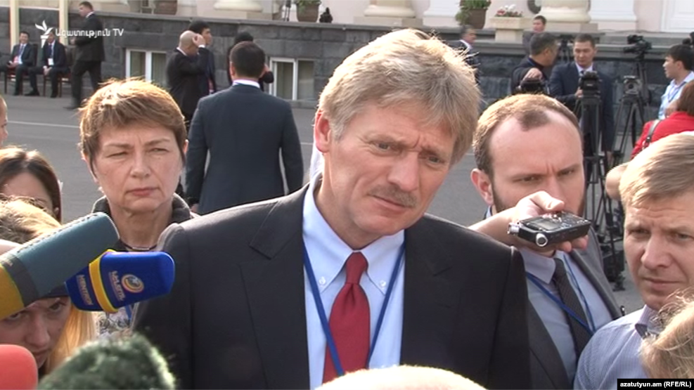 Dmitry Peskov, the Kremlin's spokesman, talks to journalists