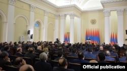 Armenia - President Serzh Sarkisian addresses senior government officials, lawmakers and judges, Yerevan, 12Feb2016.
