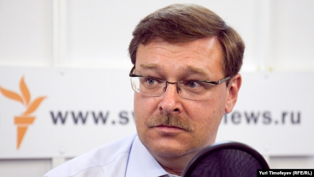 Russia -- Konstantin Kosachev, the Chairman of the State Duma International Affairs Committee in Moscow RFE/RL studio, 15Jul2011