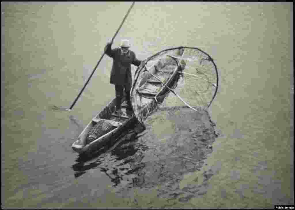 Рыбак ловит рыбу бреднем в реке Пине.