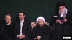 از راست: آیتالله علی خامنهای، صادق لاریجانی، محمود احمدینژاد و علی لاریجانی