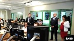 V.Putin RT-nin Moskva ofisində.