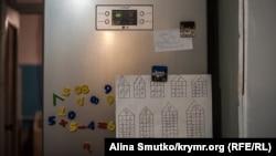 Домашнее задание по математике на холодильнике в доме Ибрагимовых