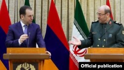Iran - Iranian Defense Minister Hossein Dehqan (R) and his Armenian counterpart Vigen Sargsian address media after talks in Tehran, 31Jan2017.