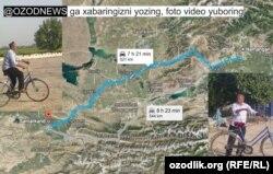 Husan bobo Namangandan Samarqandgacha bosib o'tishi kerak bo'lgan 521 km yo'l haritasi