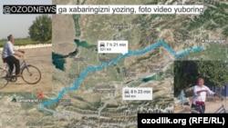 Для того, чтобы попасть на кладбище в Самарканде, где похоронен Ислам Каримов, наманганскому пенсионеру Хусану Ходжибаеву придется проехать на велосипеде 521 километр.