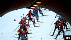 Biathletes competing at a recent World Cup event