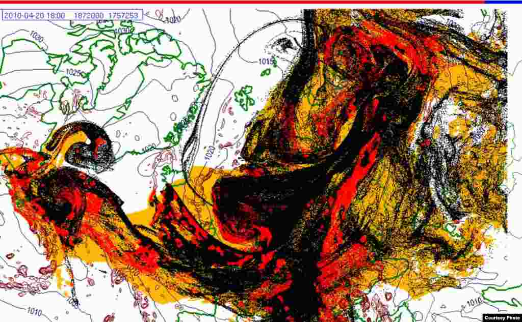 Projected spread of Icelandic ash cloud (20.4. 1800 UTC) - These images show a projection of the movement of the ash clouds from the Iceland volcanic eruption moving over Europe. The colors on the map represent: yellow: ash that has fallen by itself red: ash that has fallen by precipitation black: the actual ash cloud Source: Norwegian Meteorological Institute