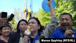 Выступление в Алматы с призывом бойкотировать выборы. 1 мая 2019 года.