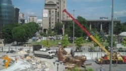 Workers Assemble Statue Of Alexander The Great In Skopje