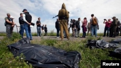 Представники ОБСЄ, сепаратисти і журналісти біля місця катастрофи, 19 липня 2014 року