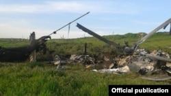 Нагорный Карабах - Обломки азербайджанского вертолета МИ-24, сбитого Армией обороны Нагорного Карабаха, 2 апреля 2016 г․