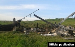 The wreckage of what Karabakh Armenian forces described as an Azerbaijani military helicopter shot down on April 2.