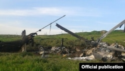 Nagorno-Karabakh - The wreckage of what Karabakh Armenian forces described as an Azerbaijani military helicopter shot down by them, 2Apr2016.