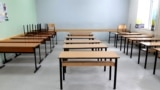 Kosovo - An empty classroom during the strike in schools