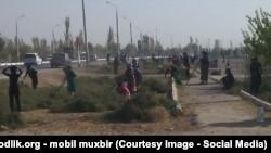 Каршинского медики убирают город. Фото мобильного репортера «Озодлика».