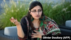 Pakistani dissident and feminist Gulalai Ismail gives an interview to AFP in Washington, D.C., on September 19.