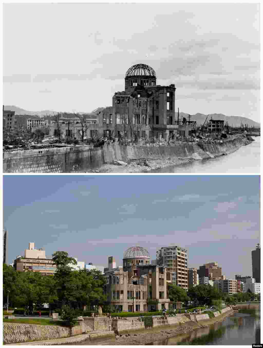 ساختمان موسوم به «یادمان صلح»، پس از فرو افتادن بمب و امروز.