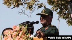 Iran's Revolutionary Guard commander Mohammad Ali Jafari speaks during a rally in front of the former U.S. Embassy in Tehran, Iran, on Sunday, Nov. 4, 2018.