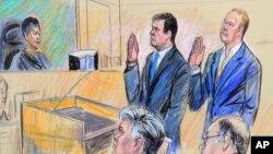 Пол Манафорт та Ричард Ґейтс у суді 30 жовтня. Малюнок судового художника