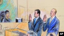 Пол Манафорт и Ричард Гейтс в суде, 30 октября 2017 (рисунок судебного художника)