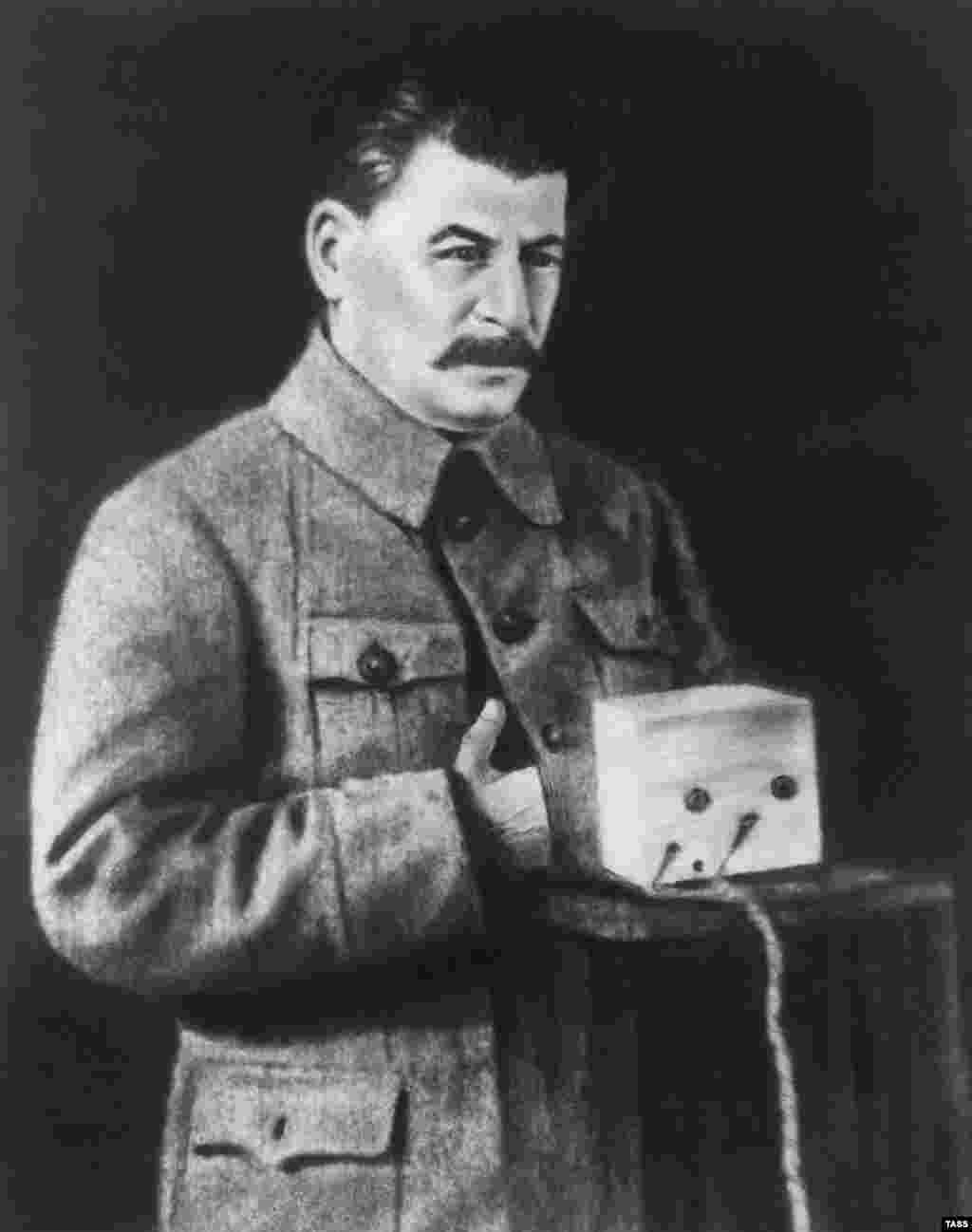 A heavily retouched image of Josef Stalin. Some of the Soviets' image-doctoring was apparently to crisp-up blurry or low-quality images.