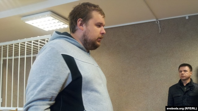 Mikola Dzemidzenka appears in court in Minsk on May 6.